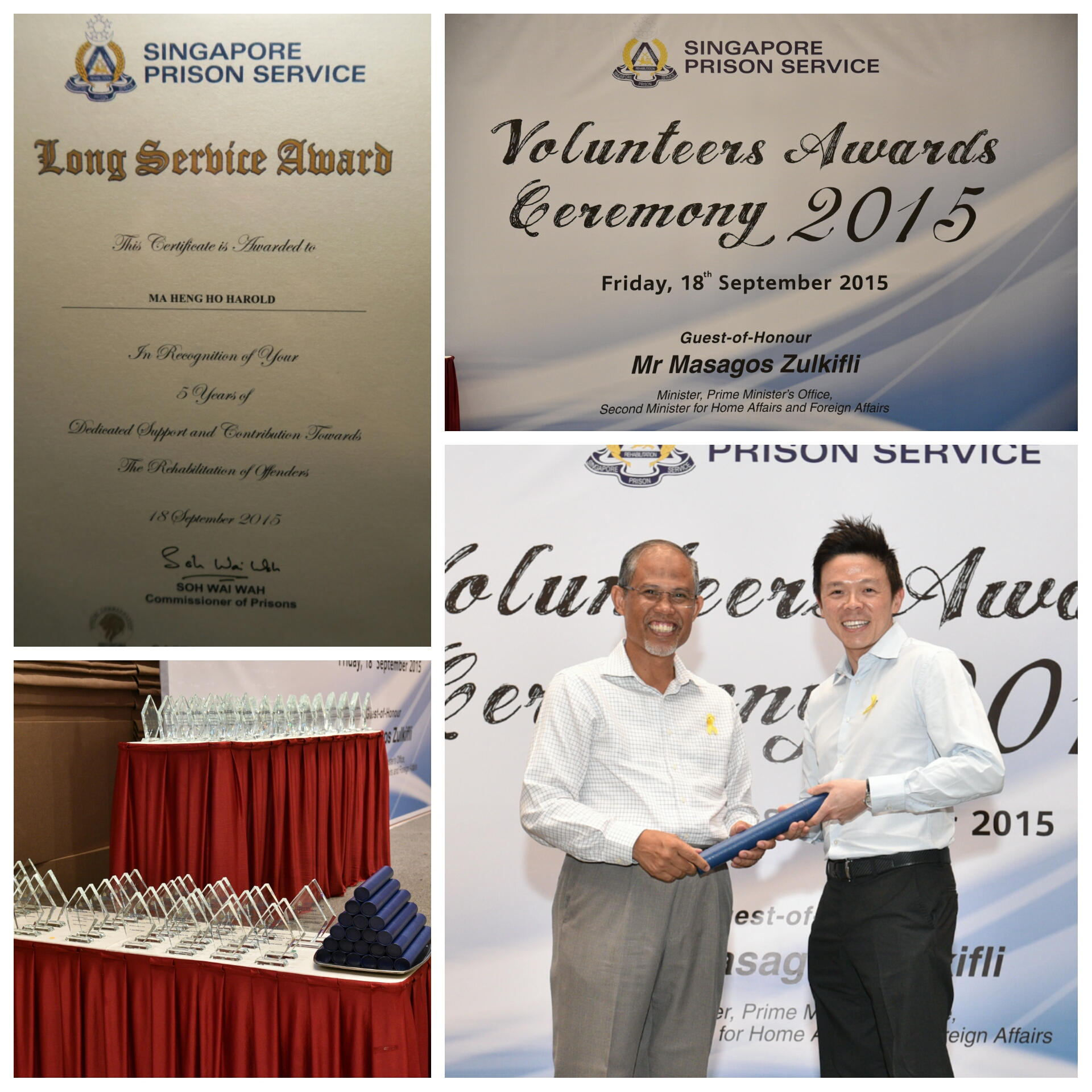 Dr. Ma is proud to receive the 5 year long service award for his work with ex-offenders
